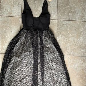 Black midi dress with ball gown skirt